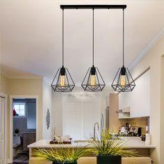 Linear Pendant Lighting, Geometric Pendant Light, Cage Pendant Light, Industrial Style Lighting, Industrial Pendant Lights, Pendant Light Fixtures, Dining Room Light Fixtures, Dining Room Lighting, Table Lighting