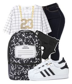 """"""""""" by awesomeblossom23 ❤ liked on Polyvore featuring Monki, Sprayground and adidas"""