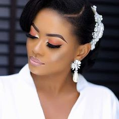 from - Combination of hair well laid and makeup properly done, makes them stop and stareHAPPY VALENTINE… African Wedding Hairstyles, Black Wedding Hairstyles, Bride Hairstyles, Down Hairstyles, Hair And Makeup Tips, Bridal Hair And Makeup, Hair Makeup, Natural Hair Wedding, Afro Style