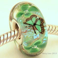 Good Luck Shamrock Dichroic Bead for Pandora Troll by glasslight, $48.00