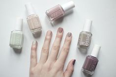 essie | absolutely shore, topless & barefoot, lady like, master plan, merino cool