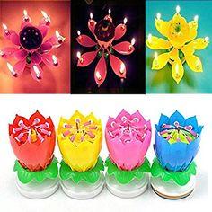 Music Birthday Candle Mix Color Lotus Rotating Play Music Birthday Song 30PCS