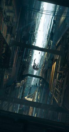 Tumbling down by Rutger van de Steeg - Cyberpunk Art Cyberpunk, Cyberpunk Aesthetic, City Aesthetic, Aesthetic Anime, Fantasy Art Landscapes, Fantasy Landscape, Landscape Art, Futuristic City, Anime Scenery Wallpaper