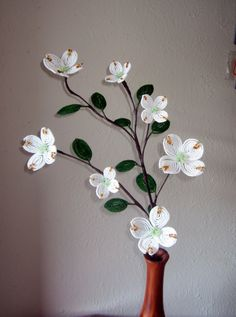 Dogwood Branch Dee's French Beaded Flowers by DeesBeadedFlowers