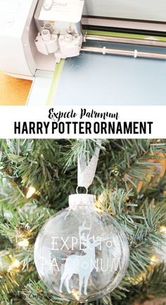 Expecto Patronum Ornament – Laura's Crafty Life Expecto Patronum Ornament. Create a Harry Potter inspired ornament with Harry's Patronus, the stag, featured inside. It's easy with the Cricut Explore. Harry Potter Christmas Decorations, Harry Potter Christmas Tree, Hogwarts Christmas, Magical Christmas, Diy Christmas Ornaments, Xmas Decorations, Homemade Christmas, Décoration Harry Potter, Harry Potter Thema