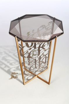 Side table: glass, metal Arabic calligraphy Oriental Furniture, Metal Furniture, Home Decor Furniture, Furniture Design, Interior Exterior, Modern Interior, Arabic Decor, Islamic Decor, Arabic Design