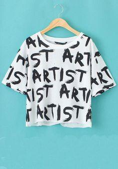 White Monogram Print Round Neck Wrap Cotton T-Shirt