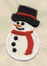 Free Embroidery Design: Applique Snowman with Fringed Scarf - I Sew Free