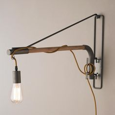 Industrial Exposed Bulb Swinging Wall Light