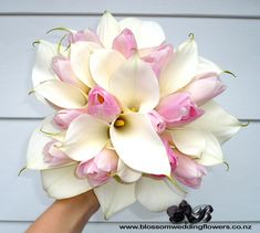 Calla, tulips, pale pink and white