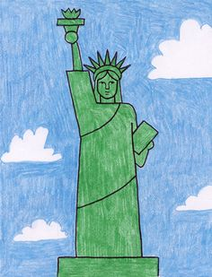 Draw the Statue of Liberty · Art Projects for Kids Art Drawings For Kids, Drawing For Kids, Easy Drawings, Art For Kids, Crayon Drawings, Small Drawings, Drawing Drawing, History Projects, School Art Projects