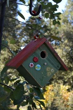 So cute for the little wrens in you garden. Garden Art Handmade Birdhouse Wren Box // Hand Painted by BirdhousesByMichele