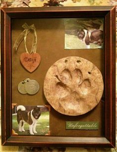 Pet shadow box to honor your dogs and cats. This is a great way to keep beloved pets in your memories. Souvenir Animal, Dog Memorial, Memorial Ideas, Dog Crafts, Pet Loss, Animal Projects, Pet Memorials, Diy Stuffed Animals, Dog Mom