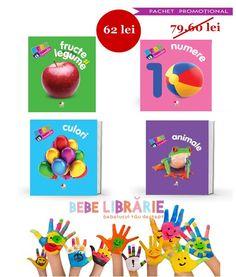 """""""Carti pentru bebelusi 0-18 luni"""" contine 4 carti  dolofane, cu pagini cartonate si colturi rotunjite din colectia """"bebe invata""""  pe care cel mic le va indragi cu siguranta. Coperta buretata, imaginile spectaculoase, culorile vii si formatul potrivit varstei la care copiii invata primele cuvinte transforma acest prim dictionar vizual intr-o atractiva jucarie educativa."""