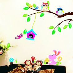 removable Animal Owl Wings Wall Sticker Bird Vinyl Decal  House Room Decor HD OP