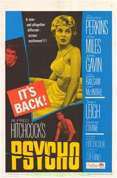 Psycho Movie Poster Original 27x41 Folded R1965 Alfred Hitchcock Janet Leigh…