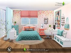 Sims 4 CC - A graceful bedroom for your teen sims with a sweet touch of beauty and a pinch of glamour. Found in TSR Category 'Sims 4 Adult Bedroom Sets' Sims 3, Sims 4 Teen, Sims 4 Game, Sims 4 Cc Furniture, Bedroom Furniture Sets, Bedroom Sets, Plywood Furniture, Modern Furniture, Furniture Design
