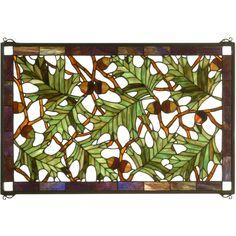 28 Inch W X 18 Inch H Acorn & Oak Leaf Stained Glass Window - Custom Made