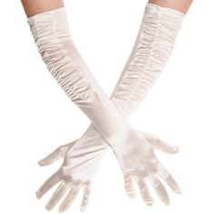 Blue Banana Long Rouched Satin Gloves (Ivory) ($11) ❤ liked on Polyvore featuring accessories and gloves