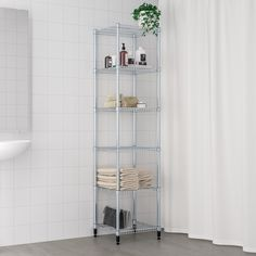 OMAR 1 section shelving unit IKEA Easy to assemble – no tools required. Also stands steady on an uneven floor since the feet can be adjusted. Pantry Shelving, Pantry Storage, Wire Shelving, Shelving Units, Kitchen Storage, Ikea Kitchen, Kitchen Chairs, Ikea Omar, Butler Pantry