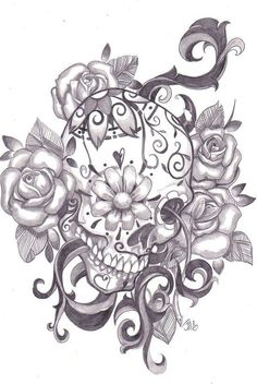 Sugar Skull Tattoo Designs For Girls Neue Tattoos, Body Art Tattoos, Cool Tattoos, Tatoos, Awesome Tattoos, Pretty Skull Tattoos, Mexican Skull Tattoos, Sick Tattoo, Tatoo Crane