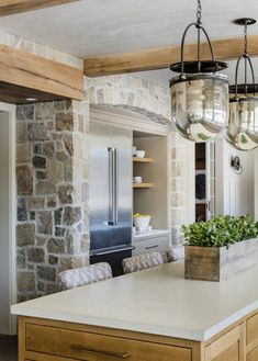 Design Trend: Modern Rustic Stone KitchensBECKI OWENS You are in the right place about stone quotes Home Decor Kitchen, Interior Design Kitchen, Home Kitchens, Kitchen Ideas, Decorating Kitchen, Kitchen Walls, Kitchen Rustic, Kitchen Modern, Interior Stone Walls