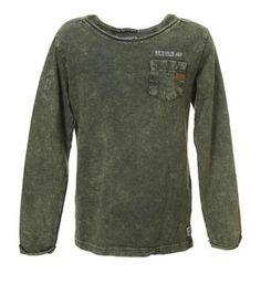 Retour Jeans t-shirt model Storm. Dit shirt is voorzien van lange mouwen, ronde hals en afgewerkt met een borstzakje - Army - NummerZestien.eu