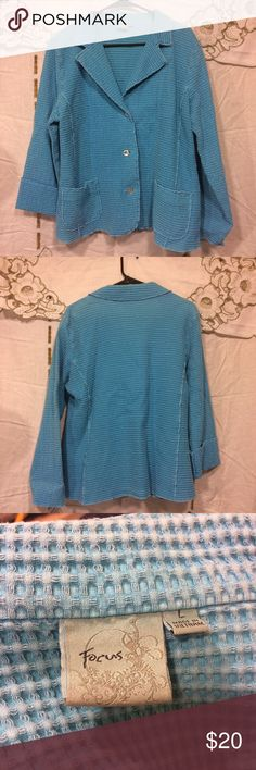 Light blue spring jacket Woman's size large light blue focus brand jacket. Some wear. No holes or stains. Big pockets. Chest measures 22 inches across, under arm measurement is 17 inches and this is 29 inches long. focus Jackets & Coats Blazers