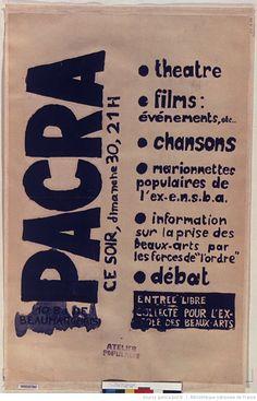 [Mai 1968]. Pacra. Ce soir dimanche 30, 21 heures. Théâtre films, évènements..., aff. de mai-juin 1968, Atelier populaire : [affiche] / [non identifié]