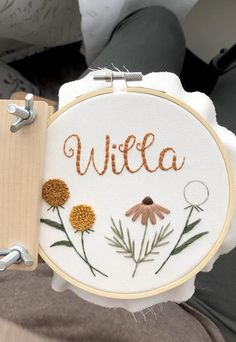 Modern hand embroidery Personalized embroidery hoop, custom name cross stitch, nursery baby name wall decor, baby girl floral embroidery Hand Embroidery Videos, Floral Embroidery Patterns, Simple Embroidery, Hand Embroidery Stitches, Embroidery Hoop Art, Hand Embroidery Designs, Beginner Embroidery, Modern Embroidery, Baby Girl Embroidery Ideas