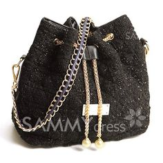 $12.08 Fashion Women's Shoulder Bag With Checked and Chains Design