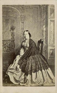 CDV Unidentified Woman Wearing A Hooped Dress and Shawl C 1860 | eBay