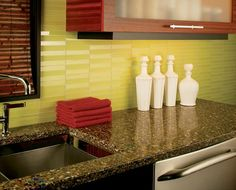 green subway tile kitchen backsplash | supreme glass tiles – light