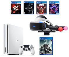 PlayStation 4 Pro Destiny 2 Bundle (6 Items): VR Starter Bundle, PlayStation 4 Pro 1TB Limited Edition Console - Destiny 2 Bundle , 4 Game Discs: Gran Turismo Sport, Skyrim, Doom, and VR Worlds