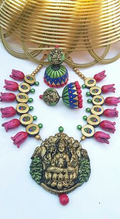Lakshmi in pink jasmine terracotta Terracotta Jewellery Designs, Terracota Jewellery, Pink Jasmine, Diy Necklace, Jewelry Collection, Polymer Clay, Handmade Jewelry, Jewelry Design, Jewels