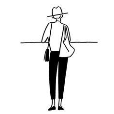 Girl by Yu Nagaba Line Illustration, Character Illustration, Fashion Sketches, Art Sketches, Character Drawing, Character Design, Illustrations And Posters, Simple Art, Belle Photo