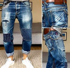 WWW.FRANCESCOBOCCAUOMO.COM Repair Jeans, Patched Jeans, Denim Jeans, Patchwork Jeans, Denim Art, Boys Jeans, Cheap Jeans, Denim Crafts, Denim Outfit