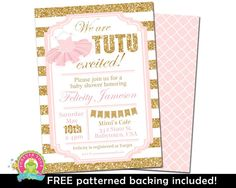 PINK AND GOLD Baby Shower Invitation, Glitter Baby Shower Invitation, Ballerina…