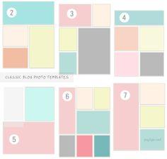 Photo layout templates via Pugly Pixel. Web Design, Book Design, Layout Design, Photoshop Fonts, Image Layout, Blog Layout, Photography Tools, Print Layout, Photo Layouts