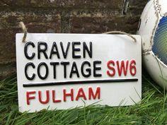 FULHAM-CRAVEN COTTAGE-Football Street by LOVECERAMICSUK on Etsy Fulham Fc, Pottery Kiln, Football Signs, Street Names, London Street, Street Signs, Beautiful Birds, Magnets, Logo Design