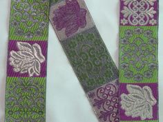 """Length 38 Inches - Jacquard Trim 1.9"""" wide Woven Border Sew  Ribbon Lace T8858-4 #SewOn Sewing Trim, Floral Tie, Norway, Ribbon, Lace, Ebay, Floral Lace, Tape, Treadmills"""