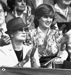 Lady Diana with Princess Grace of Monaco at Wimbledon - both to die in car crashes
