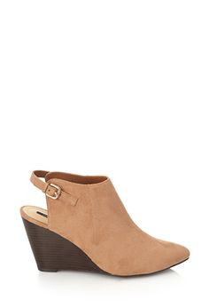 Brown Cutout Faux Suede Wedge Booties    FOREVER21 - 2000102173 $30
