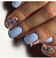 Accurate nails Beautiful nails to the sea Blue nail art Blue nails with butterfly Butterfly nail art Gentle nails with a picture Ideas of gentle nails Manicure 2018 Butterfly Nail Designs, Butterfly Nail Art, Nail Art Design Gallery, Best Nail Art Designs, Nagel Gel, Blue Nails, Nail Art Blue, Nail Manicure, Manicure Ideas