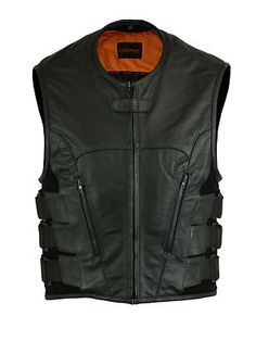 Sincere Swat Style Leather Vest Mens Motorcycle Biker Tactical Black Stretch Men's Clothing