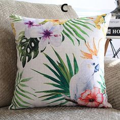 Pastoral style bird pillow Plant flower printed couch cushions 18 inch
