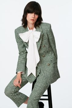 TEXTURED DOUBLE BREASTED BLAZER - Ecru / Green   ZARA United States Bell Sleeve Top, Bell Sleeves, Dandy, Zara United States, Long Sleeve, Double Breasted Blazer, Tie Blouse, Metal Buttons, Tops