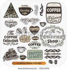 Set of vintage retro coffee labels, engraving cups and coffee beans. Vintage frames and badges for design by Ozerina Anna, via ShutterStock