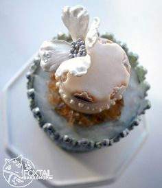 Sage and Ivory Elegant wedding cake w/ dogwood blossom.  Bend, Oregon Wedding Cakes.  Foxtail Bakeshop.  www.foxtailbakeshop.com
