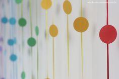 Festa Divertida Mente by Decore & Comemore // Mesa decorada papelaria e peças nas cores de cada personagem. Funco criado com selos redondos e fitas de cetim.